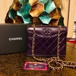 💜 rare timeless vintage Chanel flap purple small